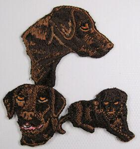 Chocolate Labrador heat seal embroidered badge