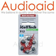Size 312 Hearing Aid Batteries (QTY:60) iCellTech - Expiry 2022 MF 1.45V