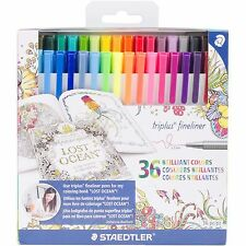 Colored Markers Set, 36 Colors Triplus Fineliner STAEDTLER - New, 334C36JBLU