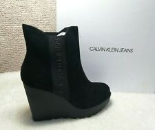 CALVIN KLEIN JEANS Women's Blk Wedge Suede Leather Ankle Boots:UK6,7 rrp:£140