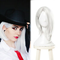 OW Ashe Cosplay Wig White Silver Short Side Part Straight Women Hair Full Wigs
