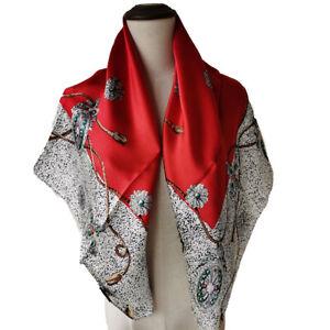Women 100% Silk Scarf Vintage Large Square Shawl Wraps Elegant Gemstone 90CM