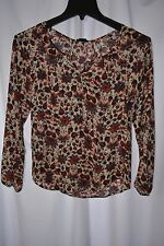 New Stoosh Women's Size XS Long Sleeve Tan Navy Cherry Blouse