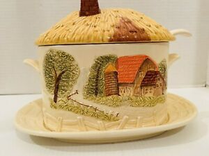 Vintage Ceramic Soup Gravy Tureen Toureen with Country Barn Buttery Yellow Ladle