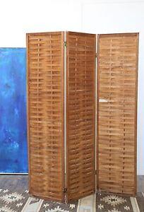 Vintage Mid century Modern Teak wood room divider Screen 3 panel screen