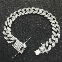 Fashion Bracelet Women Men Link Chain Hip Hop Cuban Bracelet Inlaid Rhinestone
