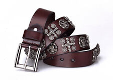 New Mens Brown Leather Studded SKULLS AND CROSS Belt Size 40 inch 102 cm (SB119)