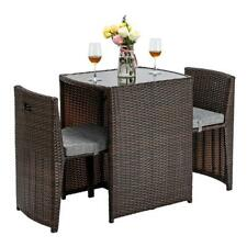 3PCS Wicker Rattan Bistro Set Patio Furniture Space Saving Table Chair Set Yard