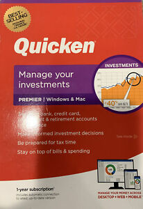 Quicken Premier 2019 VERSION Manage Investments Windows & Mac 1 Yr Membership