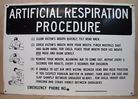 ARTIFICIAL RESPIRATION PROCEDURE Industrial Safety Advertising Steel Sign