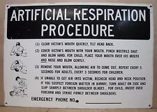 Old ARTIFICIAL RESPIRATION PROCEDURE Industrial Safety Advertising Steel Sign