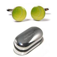 Tennis Players, Green Tennis Ball Cufflinks & Engraved Gift Box