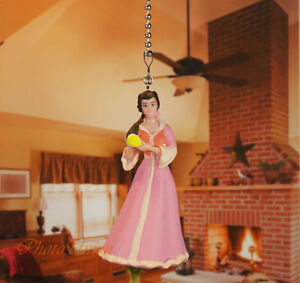 Disney Belle Beauty and the Beast Pink Dress Ceiling Fan Pull Light Lamp Chain