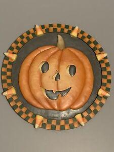 "Debbie Mumm TRICK OR TREAT 12"" Pumpkin Stepping Stone Wall Hanging NCE 70164"