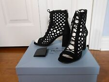 NEW Auth Prada Cutout Suede Lace-Up Peep-Toe Booties,Black (Nero)SZ 6.5 MSRP$890