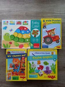 Haba & Goula Spiele-Paket ab 2J./oder 1J.Puzzle, Farben, Zuordnen, Fische angeln