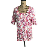 Croft & Barrow Woman Classic Short Sleeve Pink Floral T-shirt Size X-LARGE