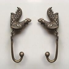 2 rooster WALL HOOKS chicken BRASS old style look SCREW to wall aged hen B