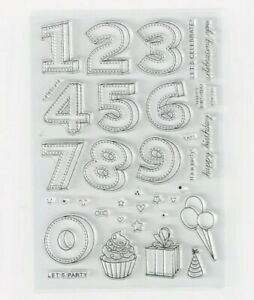 NUMBER STAMPS/HAPPY BIRTHDAY CLEAR STAMP-PARTY PRESENT/BALLOON-/NUMBERS/WORDS