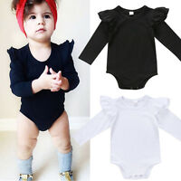 Newborn Baby Girls Cotton Long Sleeve Bodysuit Romper Jumpsuit Outfits Clothes