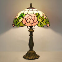 "Dia 11.81"" Tiffany Style light Rose Stained Glass Accent Table Reading Lamp"