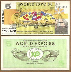 AUSTRALIA: BICENTENNIAL WORLD EXPO 1988 2 AND 5  DOLLAR NOTES