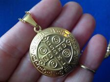 RARE St BENEDICT Protection LOCKET NECKLACE GOLD PLATE Saint Medal Stainless