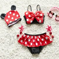 3Pcs baby & toddler girls Swimwear Minnie bikini kids Swimsuit &skirt & hat Set
