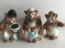 Three Bears Vtg mama Papa baby bear ceramic planters Rare
