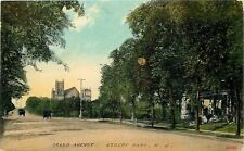 Asbury Park New Jersey~Grand Avenue~Homes in Trees~Church~Men on Street~1910