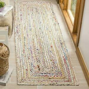 Rug Runner Jute & Cotton Reversible Handmade Braided Style Rug Rustic Look Rugs