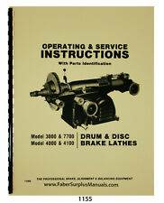 Ammco Brake Lathe 3000 7700 4000 4100 Operating Service Parts Manual 1155