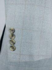 Pronto Uomo Sport Coat Brown Gray Check 2 Button Wool & Silk Blazer Jacket 42/43