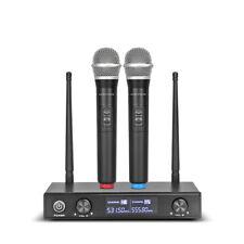 2 Channel Pro Audio Uhf Wireless Microphone System Dynamic Handheld Mic Karaoke