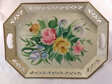 Pilgrim Art Tole Metal Tray Hand Painted Cream Cutout Edges 18 x 13 Vintage