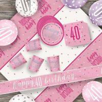 Pink Glitz 40th Birthday Party Supplies Decorations (Confetti Strings Napkins)