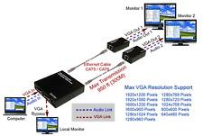 1x2 Active VGA Video Audio Extender Over Cat5 Cat6 Max 450 Feet 1920x1200 Pixels