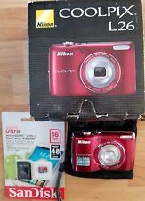 NEW 16GB Storage card + Nikon COOLPIX L26 16.1MP Digital Camera - Red - Used