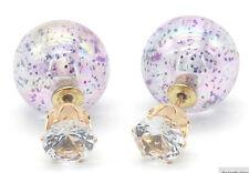 NEW DOUBLE PEARL PURPLE GLITTER SPARKLE BALL BEAD CRYSTAL STUD EARRINGS
