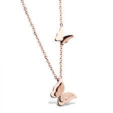 Edelstahl SCHMETTERLINGE Anhänger Damen Kette Halskette Roségold steel Necklace