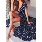 mujer manga corta boho vestido largo Mujer Noche Cóctel playa vestido de verano