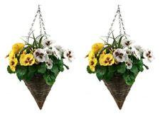 2 x Artificial Cone Hanging Baskets - WHITE & YELLOW Spring Pansies (Viola)