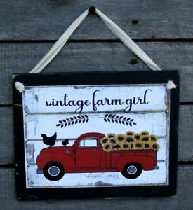 Country Farm Girl Red Truck Sunflowers Prim Farmhouse Wooden Wall Sign Plaque