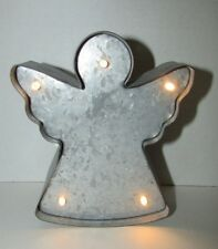 Studio Decor Holiday Marquee New rustic tin angel light up home decor shelf hang