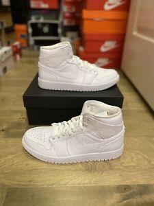 Nike Air Jordan 1 Mid 554724-130 Men Casual Shoes Triple White Size 10