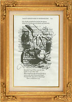 "ORIGINAL-Large Alice & White Rabbit Art Print on ""Alice in Wonderland"" Page"