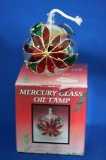 VINTAGE MERCURY GLASS POINSETTIA OIL LAMP