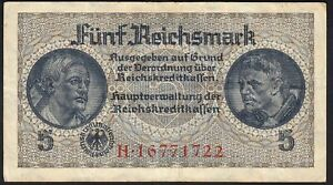1940 - 1945 5 Reichsmark Rare Vintage Paper Money Banknote Currency Note VF