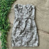 White by Vera Wang Bridesmaids Dress • Silver Gray Metallic Floral Bow • Size 4