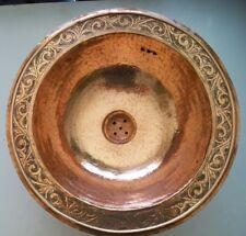 Vasque cuivre rouge Marocaine gravé évier lave main lavabo salle de bain 38 cm